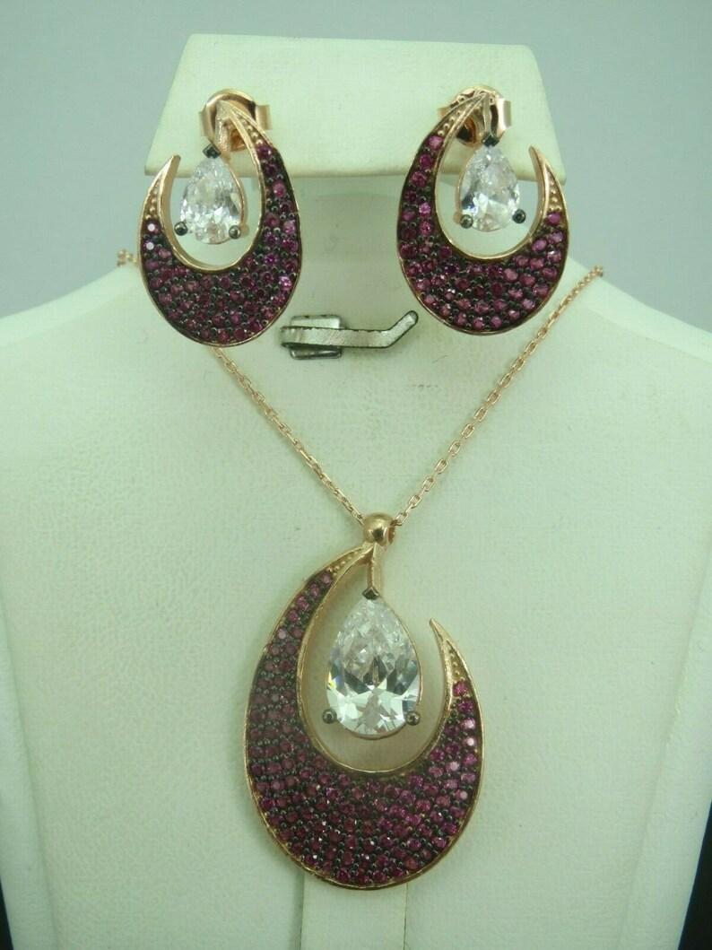 Turkish Handmade Jewelry 925 Sterling Silver Ruby Stone Women Earring Set