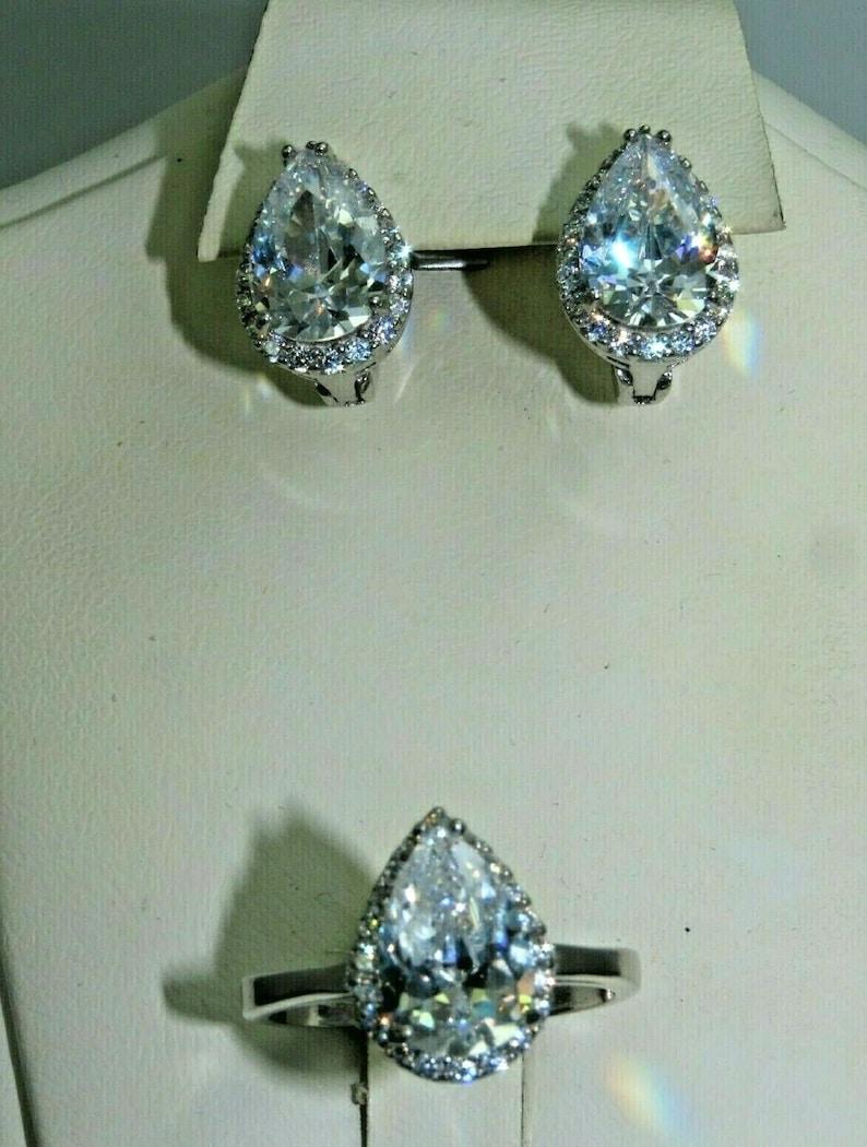 Turkish Handmade Jewelry 925 Sterling Silver Zircon Stone Women Earring Set