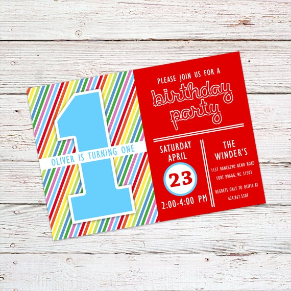 Rainbow Themed Birthday Party Invitation Circus