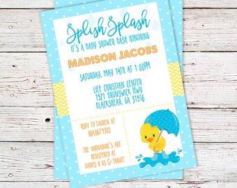 Baby Shower Invitations - Baby Shower Invites - Duck Baby Shower Invitation - Rubber Ducky Invitations - Rubber Ducky Baby Shower - Invtes