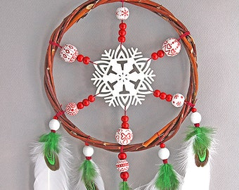 Red dreamcatcher snowflake dream catcher boho style winter home decor native american wall hangings birthday gift for her feather decor