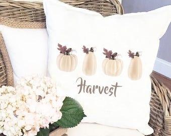 Harvest Pillow Cover - Pumpkin Pillow Cover - Farmhouse Style - White Pumpkins Pillow Cover - Harvest Pumpkins Fall pillow cover