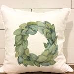 Magnolia Wreath Pillow - Farmhouse Pillow Cover - Fall Pillow Cover - Decorative Pillow Cover - Personalized Pillows - Rustic Decor