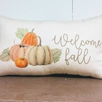 Welcome Fall Pillow Cover - Watercolor Pillow - Rustic Pillow Cover - Autumn Pillow - Vintage Decor - Home Decor - Floral Pillow