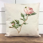 Peony pillow Cover - watercolor peony - Watercolor flower Pillow Cover - Spring pillow cover - 18x18 - Farmhouse pillow cover - botanical