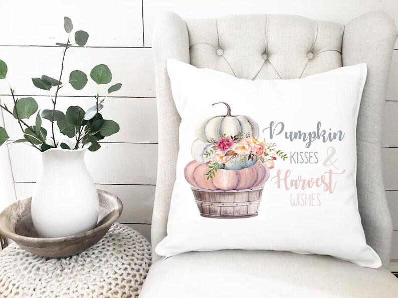 Autumn Pillow Cover  Watercolor Pillow  Pumpkin Kisses image 0