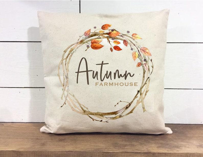 Autumn Farmhouse pillow Cover  Fall Pillow  Autumn Pillow  image 0