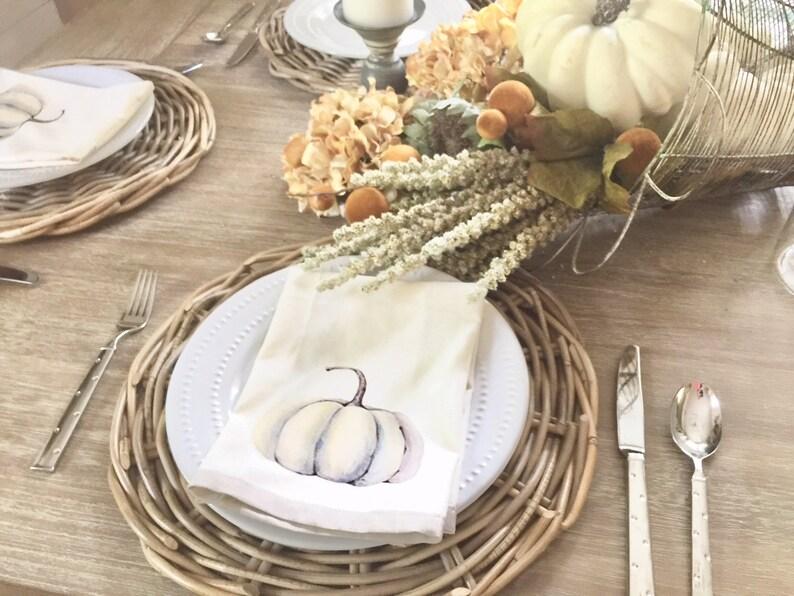 Cotton Table Napkins   Pumpkin Napkin Set  Table Napkin Set image 0