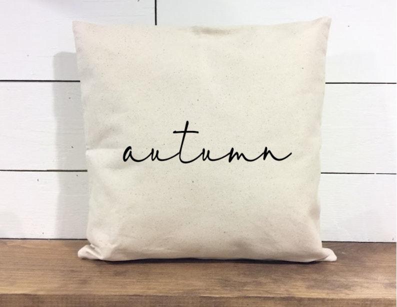 Throw Pillow Cover  Autumn Pillow  Calligraphy  Home Decor image 0