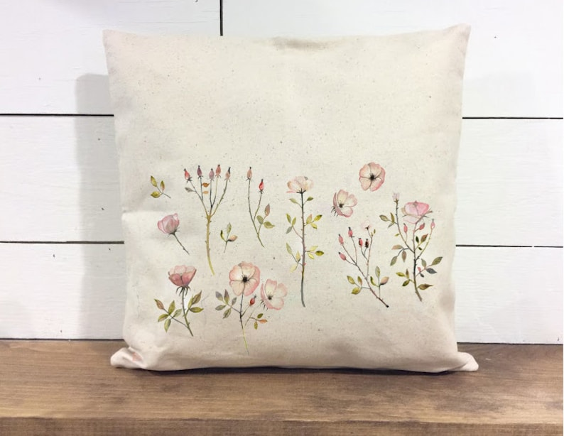 Throw Pillow Cover  Autumn Florals Pillow  Calligraphy  image 0