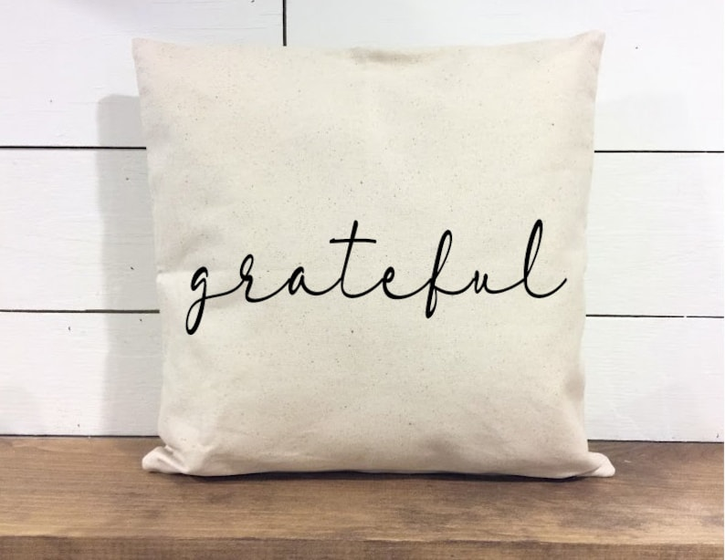 Throw Pillow Cover  Grateful Pillow  Calligraphy  Home image 0