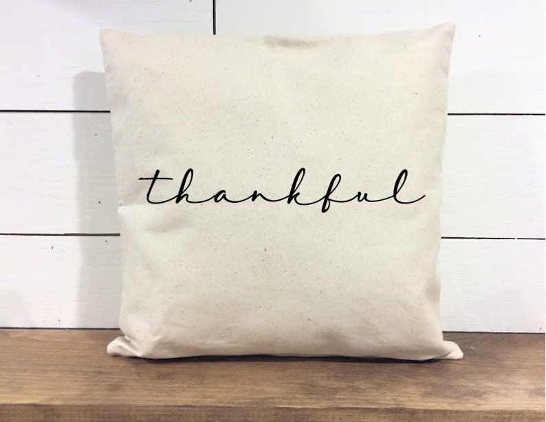Throw Pillow Cover  Thankful Pillow  Calligraphy  Home image 0