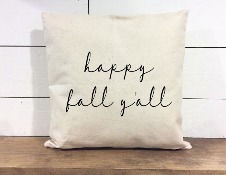 Throw Pillow Cover  Happy Fall Y'all Pillow  Calligraphy image 0