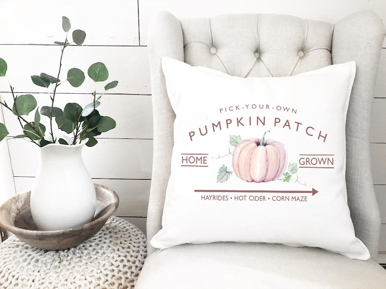 PUMPKIN Pillow Cover  Watercolor Pillow  Pick your own image 0