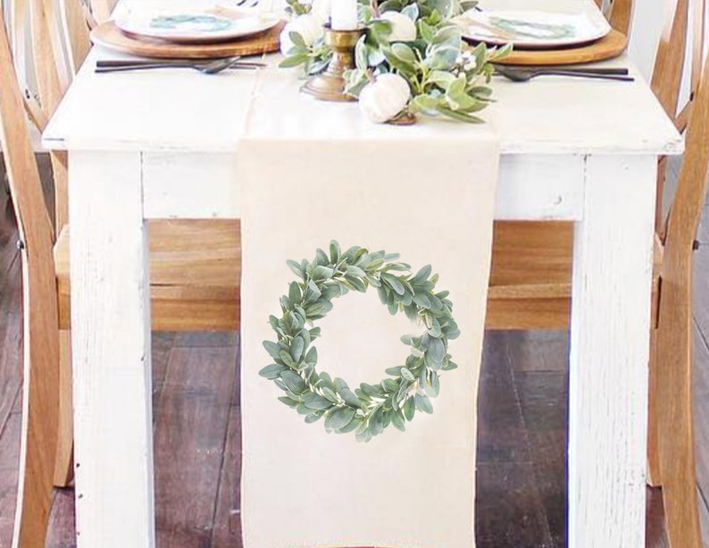 Christmas table runner  Lambs Ear Wreath table runner  image 0
