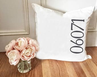 Personalized Zip code pillow cover - New home pillow cover - housewarming gift - living room decor - rustic home decor - farmhouse decor