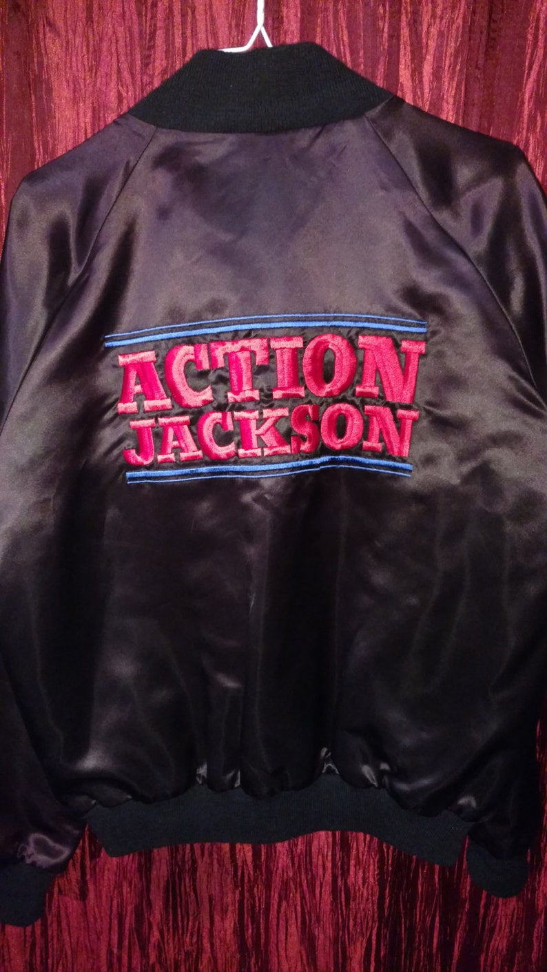 1988 ACTION JACKSON Carl Weathers Apollo Creed Rocky Sylvester Stallone Late Night With David Letterman Black Satin Vintage Jacket