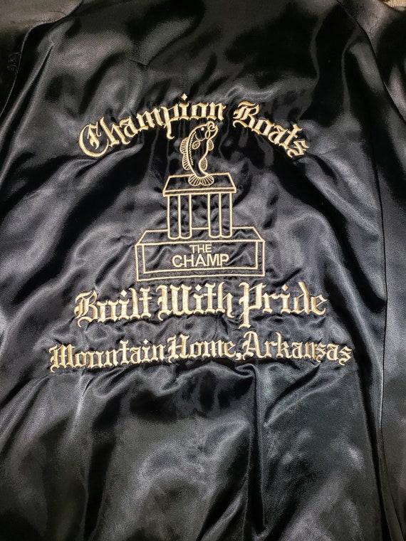 1970s Champion Boats Black Satin Jacket