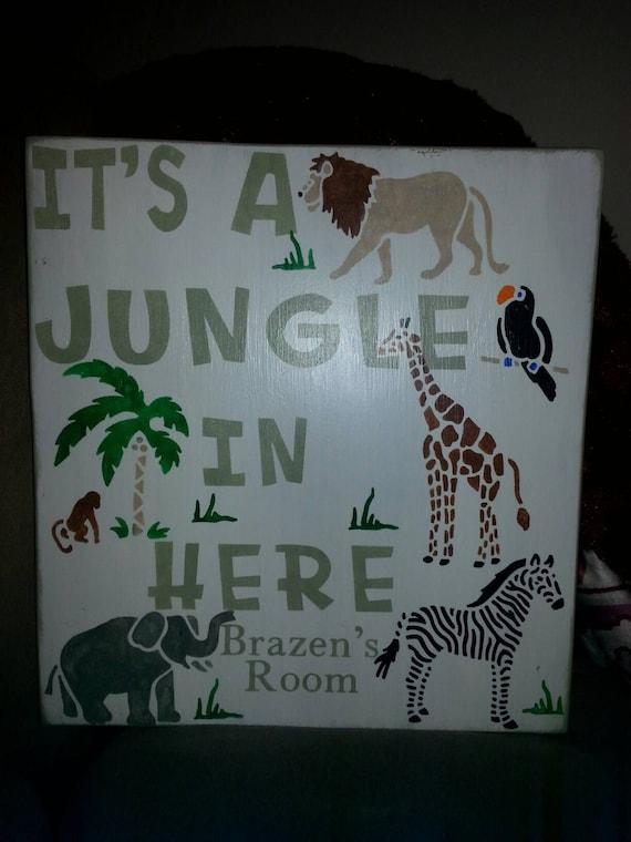 Jungle Safari Nursery Decor Distressed Wood Sign Its A Etsy