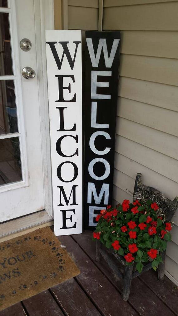 Entryway Sign Reversible Vertical Distressed Wood Rustic Extra Large Sign Oversized Primitive Decor Merry Christmas Wood Porch Sign 5 Ft