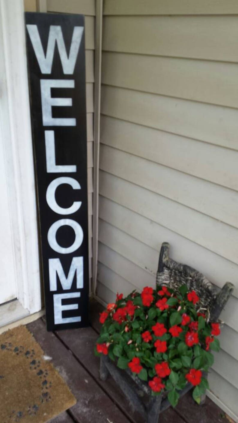 Welcome Wood Porch Sign 5 Ft Entryway Sign Reversible Etsy