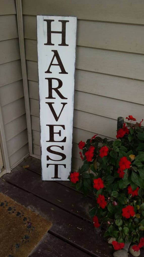 Harvest Extra Large Porch Sign Fall Decor Vertical Wood