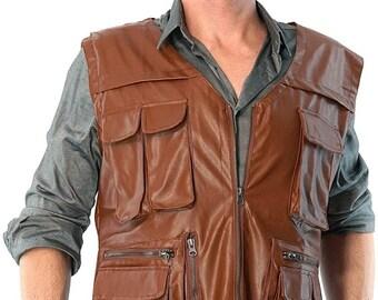 Jurassic Dinosaur Hunter Wrangler Cosplay Leather Vest for Men Boys