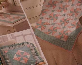 S3703 EZ Quilters Delight: Pinwheel Quilt, Dresser Topper & Pillow - NIP (out of print) RARE