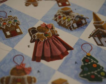 S2545 Holiday Crafts: Gingerbread Tree Skirt, Tree Topper, Stocking & Ornaments - NIP