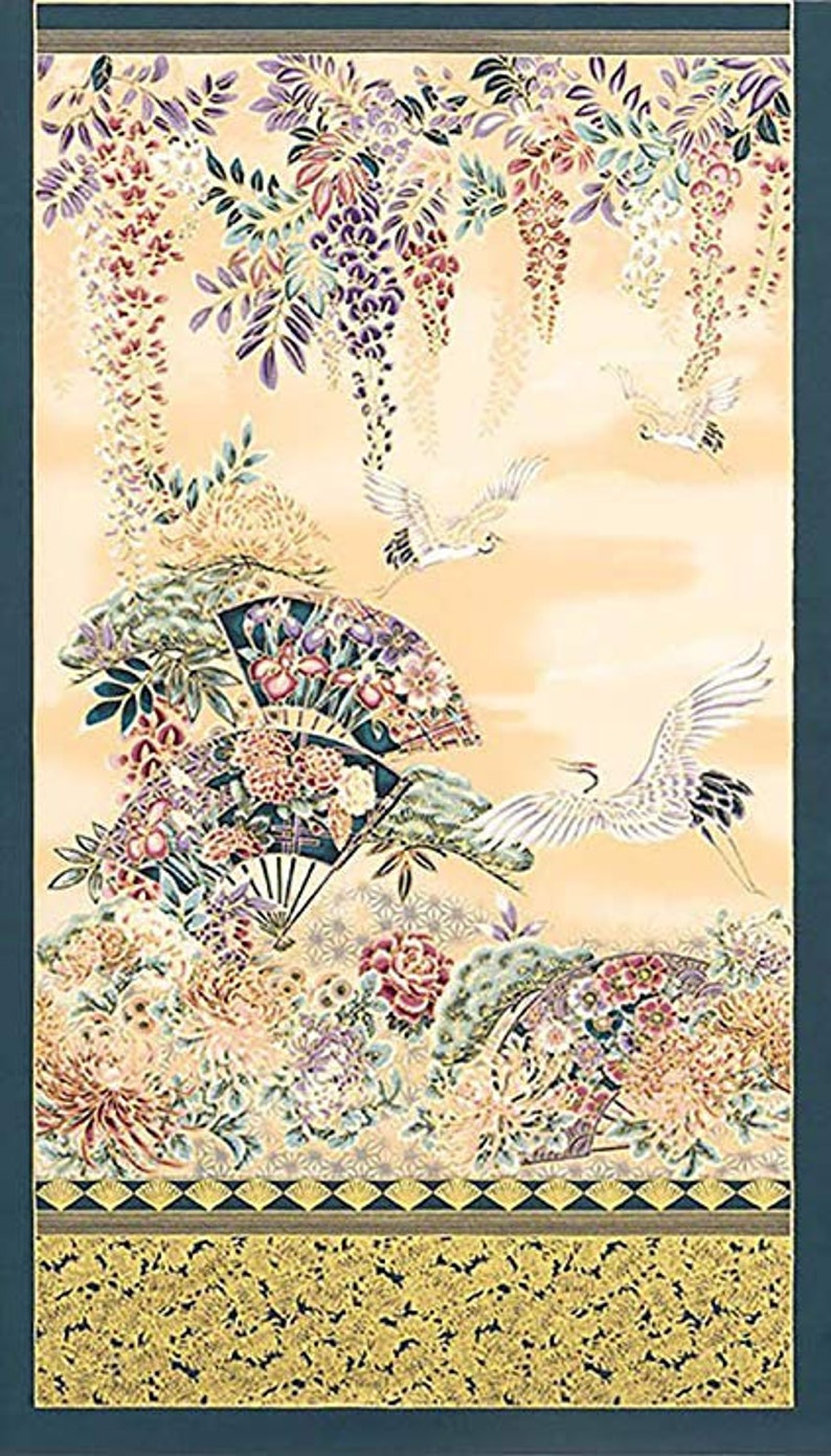 Imperial Japanese Garden Fabric Panel 24 x 44 image 0