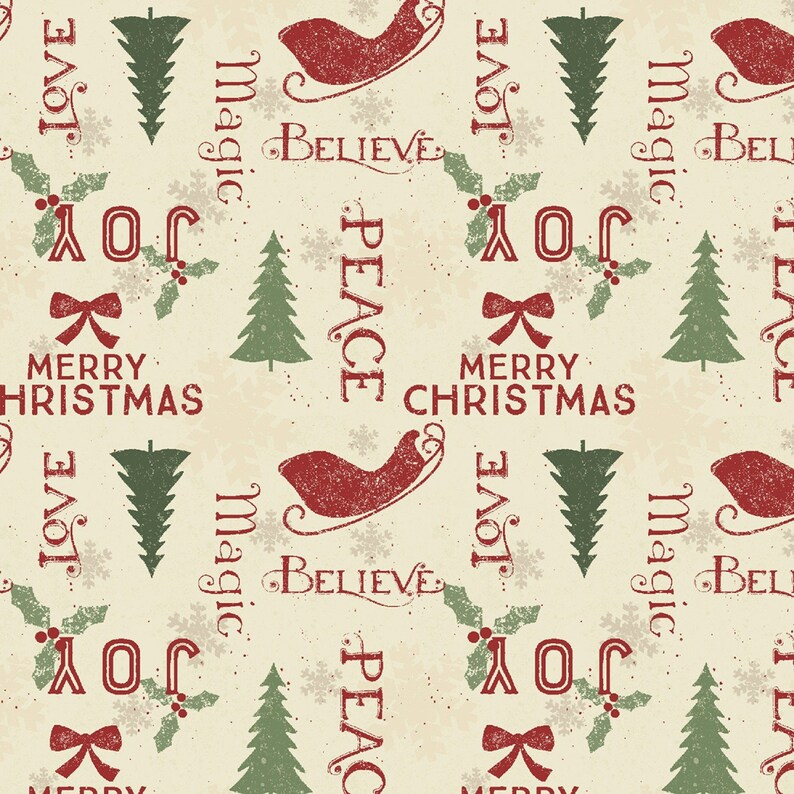 Home For Christmas by Clothworks 100% Cotton Tossed Motif image 0