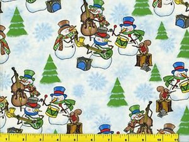 Snowman Band 100% Cotton Fabric by Elizabeth Studio sold by image 0
