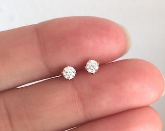 Dainty cz diamond earrings 3mm, gold filled studs