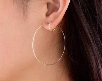 Silver gold hoop earrings, 14k gold filled hoop earrings