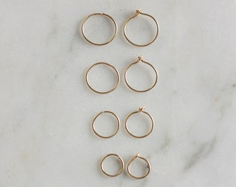 Small thin hoop earrings, huggie earrings, gold filled dainty hoops, sleeper earrings