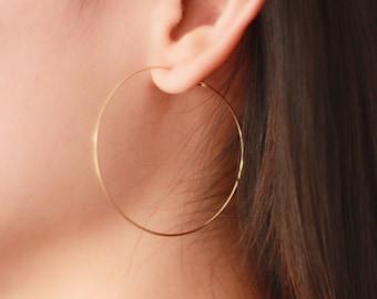 "2"" Thin hoop earrings, gold hoops, gold filled earrings"