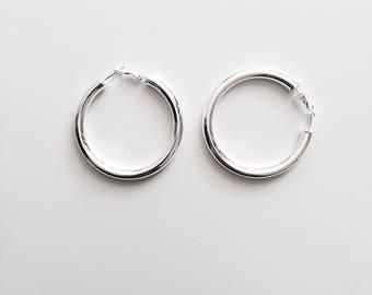 Thick large hoop earrings