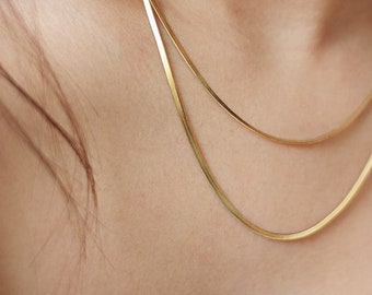 Golden  flat snake chain necklace, stainless steel