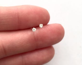 Tiny micro diamond earrings/ nose studs 1.2mm 1.7mm sterling silver/gold