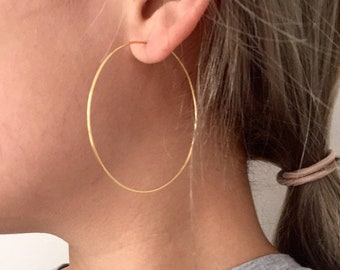 Simple thin wire hoop earrings, 50mm hoops, 2inch, 1inch gold filled