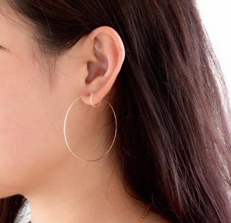 Silver gold hoop earrings 14k gold filled hoop earrings image 0