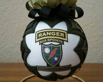 U.S. Army Ranger, Army Ranger Keepsake, Quilted Military Ornament