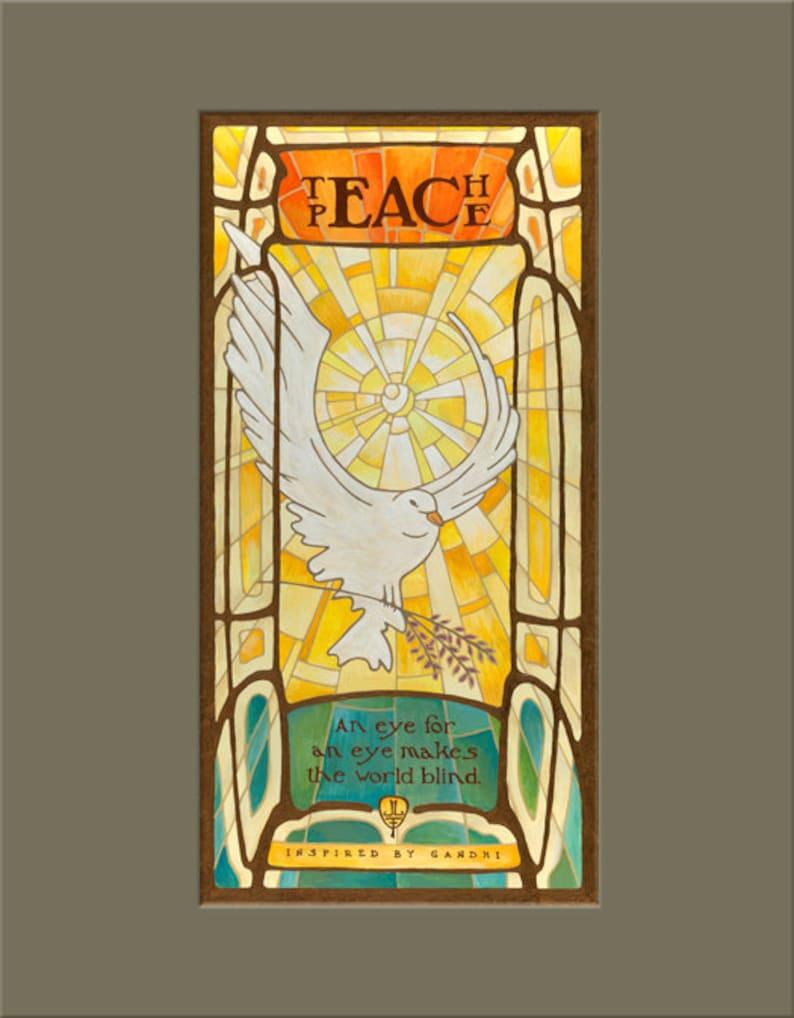 Arts /& Crafts Movement Art Nouveau Dove Matted Gicl\u00e9e Art Print by The Bungalow Craft by Julie Leidel