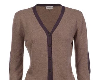 100 % cachemire figue fauve Elbow Patch Cardi