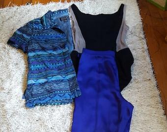 256de75ee24c69 Vintage Spenser Jeremy Petite XS Silk Blue Geometric Print Short Sleeves  Button Up Shirt W  Straight Color