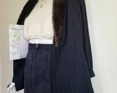 Vintage 90s Ellen Ashley High Waist Black Denim Jean Pencil Midi Skirt W Back Slit