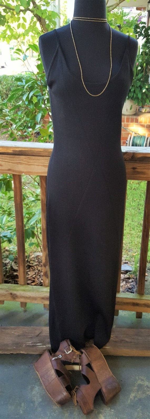 Vintage Boho Willi Smith Black Long Maxi Knit Dres