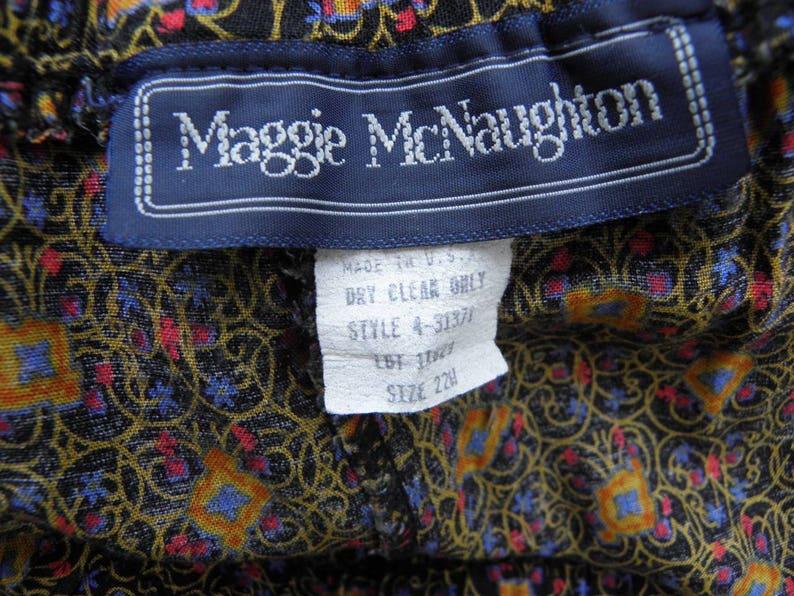 Vintage Maggie McNaughton Plus Size Funky Abstract Print Flare Midi Skirt