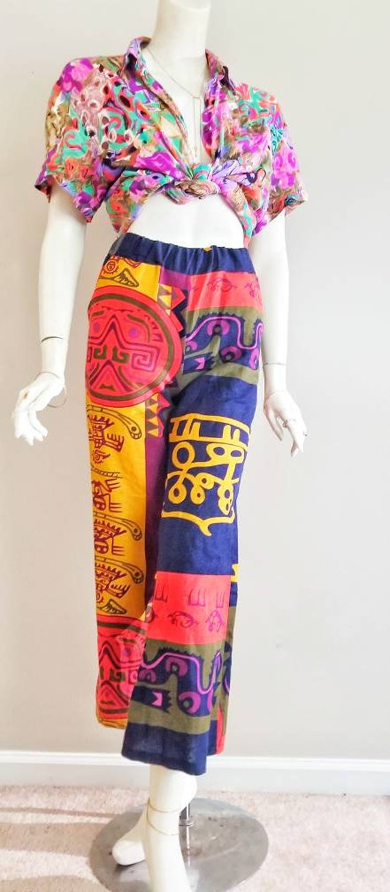 Vintage Boho High Waist Pants Palazzo 90s Wide Leg Elastic Waist loose trousers baggy silk festival hippie tribal print Elastic Waistband