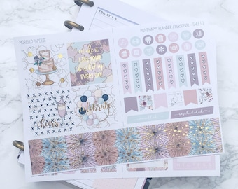 FOIL Celebrate in Style MINI Planner Sticker Kit - For Mini Happy Planner, Personal Inserts, TNs, Foiled Weekly Kit, Foil Stickers, Birthday